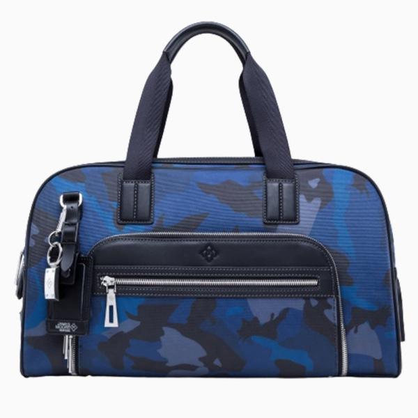 Atlas Travel Bag in Navy Blue Camouflage Honeycomb Nylon and Black Calfskin011