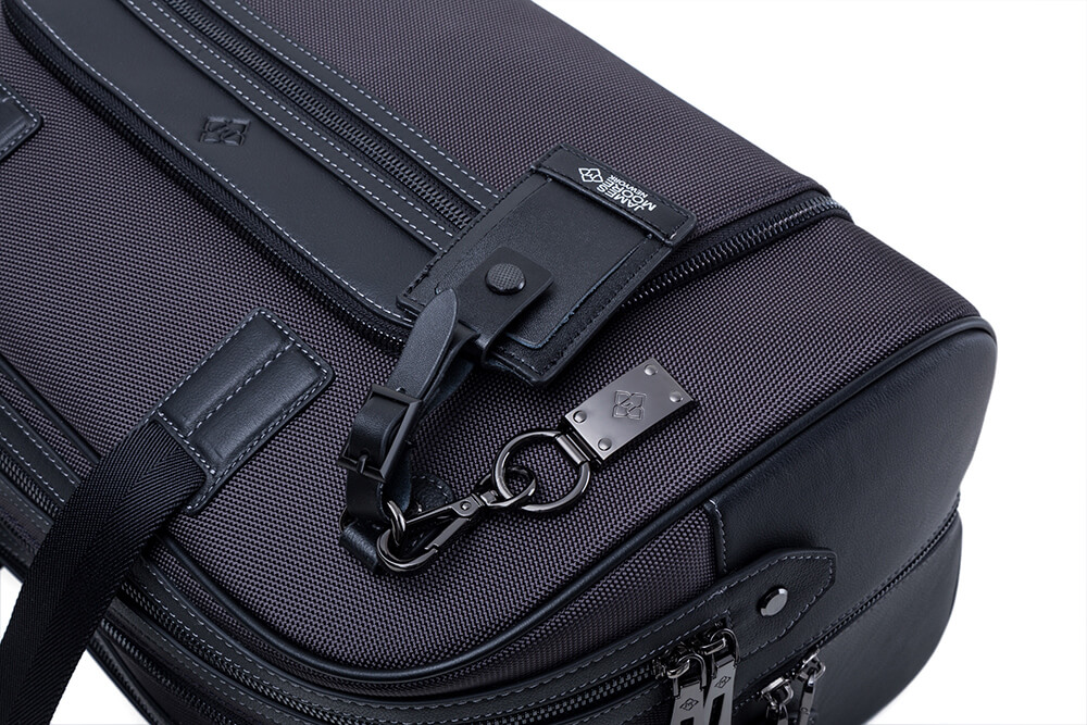 Atlas travel bag charcoal grey keyfob handtags