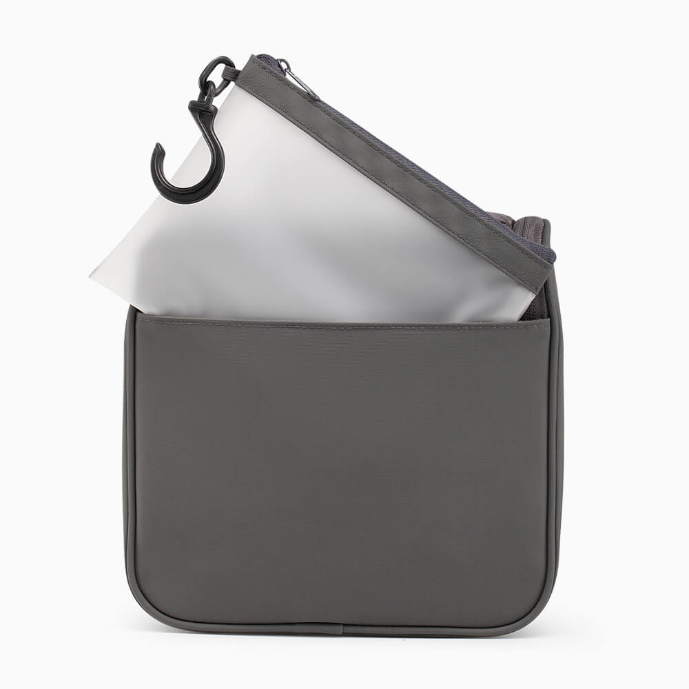 hanging toiletry case in grey