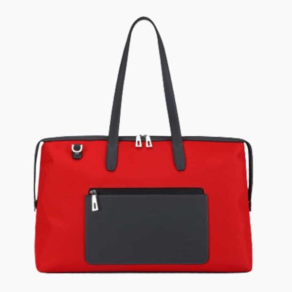 The Kyoto Zip Tote Bag in Crimson-Red Nylon and Black Calfskin Micro-Fiber-011