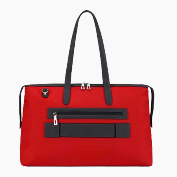 The Kyoto Zip Tote Bag in Crimson-Red Nylon and Black Calfskin Micro-Fiber-022
