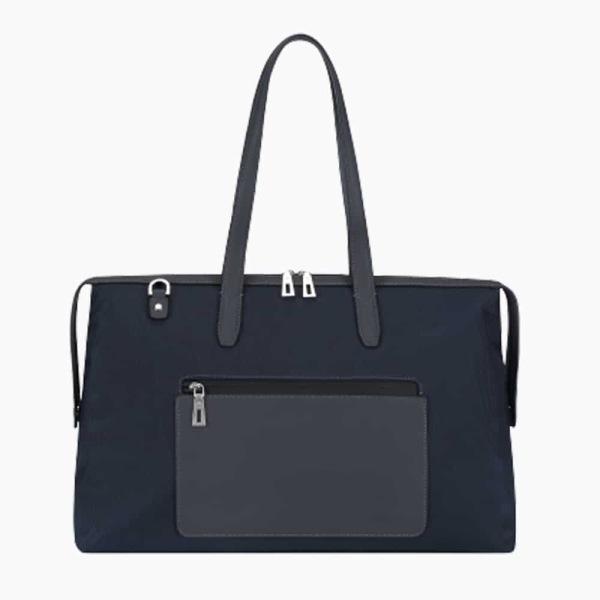 The Kyoto Zip Tote Bag in Dark Navy-Blue Nylon and Black Calfskin Micro-Fiber-011