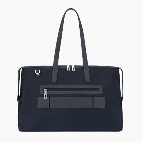 The Kyoto Zip Tote Bag in Dark Navy-Blue Nylon and Black Calfskin Micro-Fiber-022
