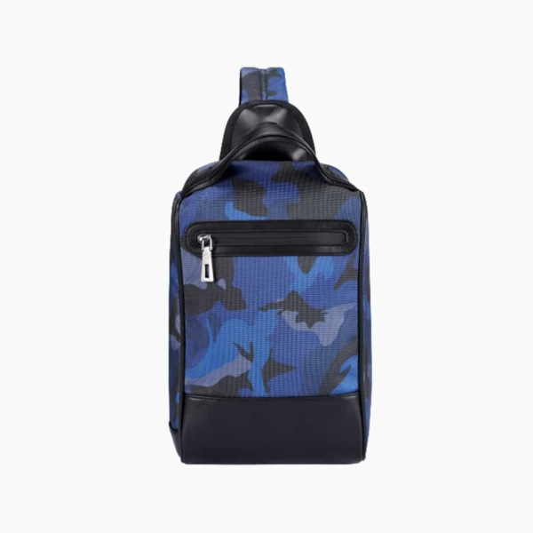 The Alta Sling Zip Bag in Blue Camouflage Nylon and Black Leather Micro-Fiber-011