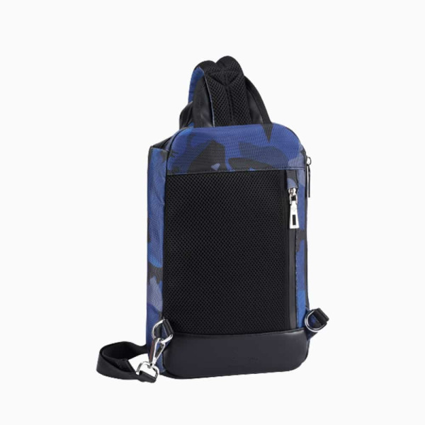 The Alta Sling Zip Bag in Blue Camouflage Nylon and Black Leather Micro-Fiber-022