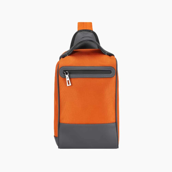 The Alta Sling Zip Bag in Burnt-Orange Nylon and Black Leather Micro-Fiber-011