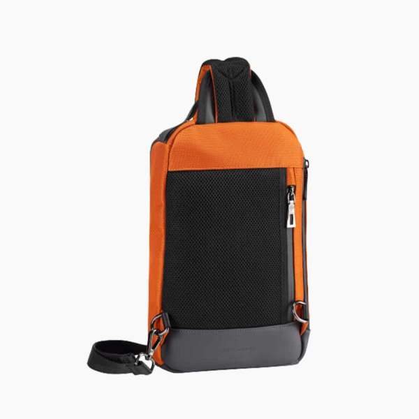 The Alta Sling Zip Bag in Burnt-Orange Nylon and Black Leather Micro-Fiber-022
