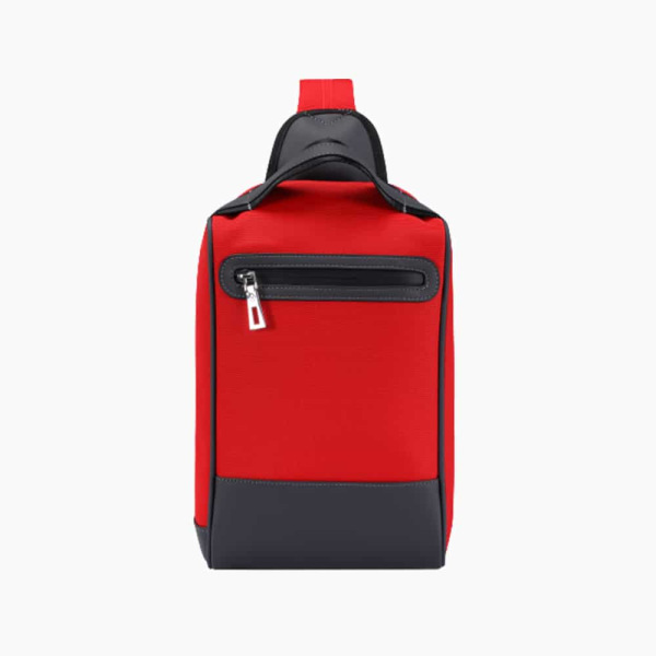 The Alta Sling Zip Bag in Crimson-Red Nylon and Black Leather Micro-Fiber-011