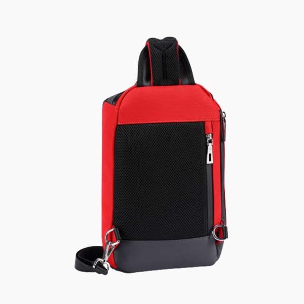 The Alta Sling Zip Bag in Crimson-Red Nylon and Black Leather Micro-Fiber-022