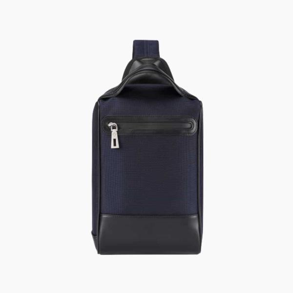 The Alta Sling Zip Bag in Dark Navy Blue Nylon and Black Leather Micro-Fiber-01