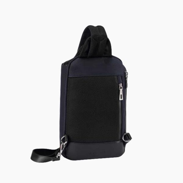 The Alta Sling Zip Bag in Dark Navy Blue Nylon and Black Leather Micro-Fiber-02