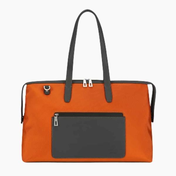The Kyoto Zip Tote Bag in Burnt-Orange Nylon and Black Calfskin Micro-Fiber-011