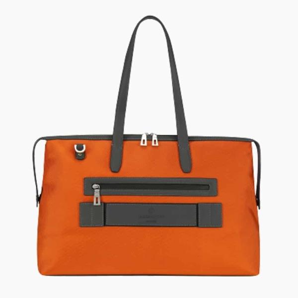 The Kyoto Zip Tote Bag in Burnt-Orange Nylon and Black Calfskin Micro-Fiber-022