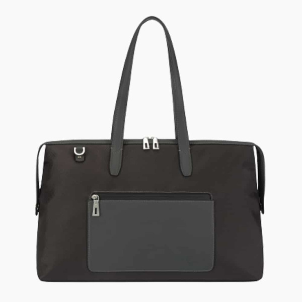 The Kyoto Zip Tote Bag in Charcoal-Grey Nylon and Black Calfskin Micro-Fiber-011