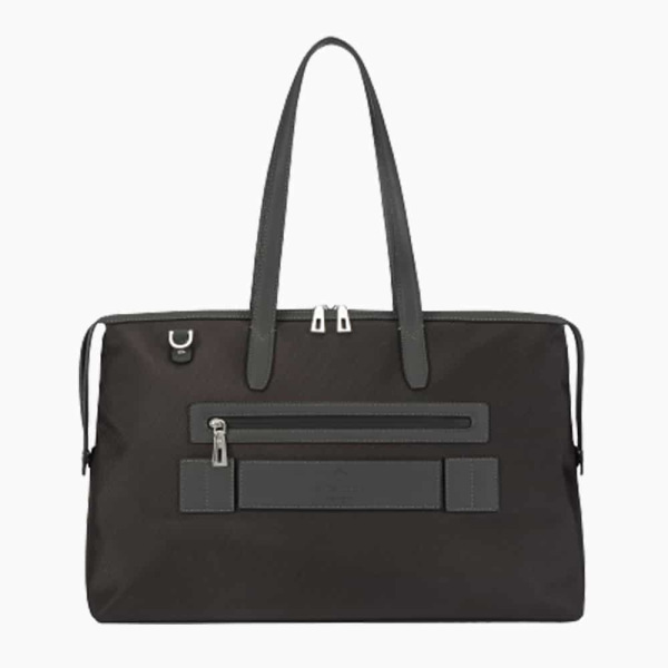 The Kyoto Zip Tote Bag in Charcoal-Grey Nylon and Black Calfskin Micro-Fiber-022