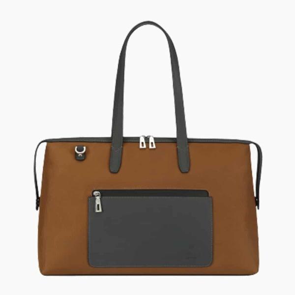 The Kyoto Zip Tote Bag in Dark-Tan Nylon and Black Calfskin Micro-Fiber-011