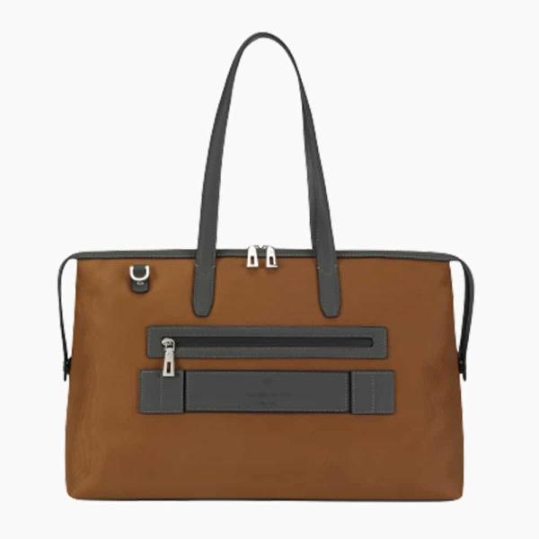 The Kyoto Zip Tote Bag in Dark-Tan Nylon and Black Calfskin Micro-Fiber-022