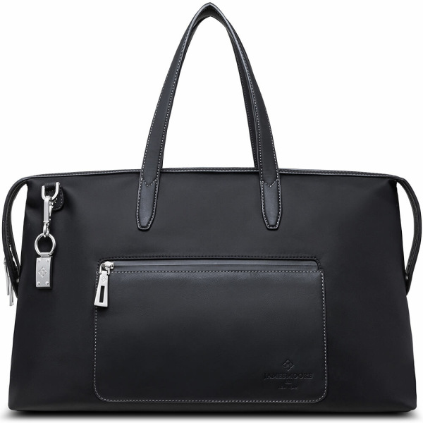 The Big Kyoto Zip Tote Bag in Black Nylon and Black Leather_Front 1