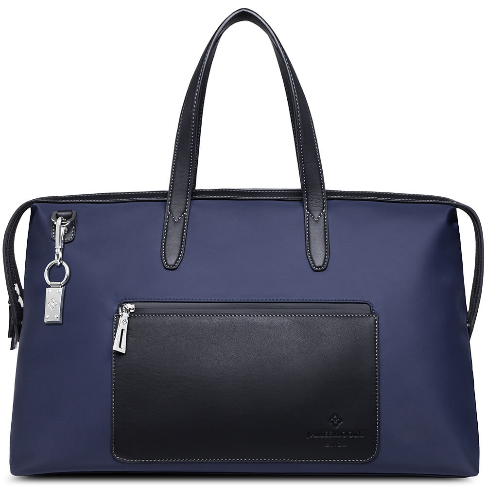 The Big Kyoto Zip Tote Bag in Blue Nylon and Black Leather_Front 1