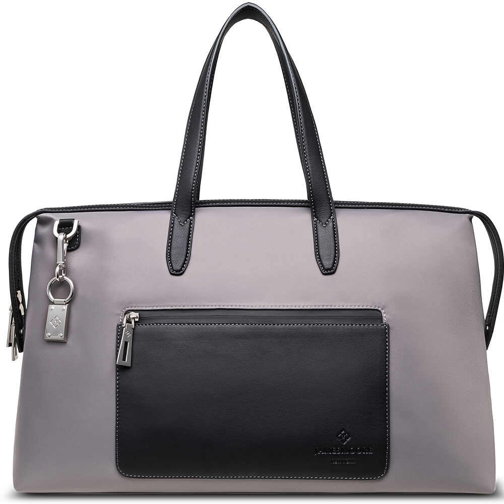 The Big Kyoto Zip Tote Bag in Grey Nylon and Black Leather_Front 1