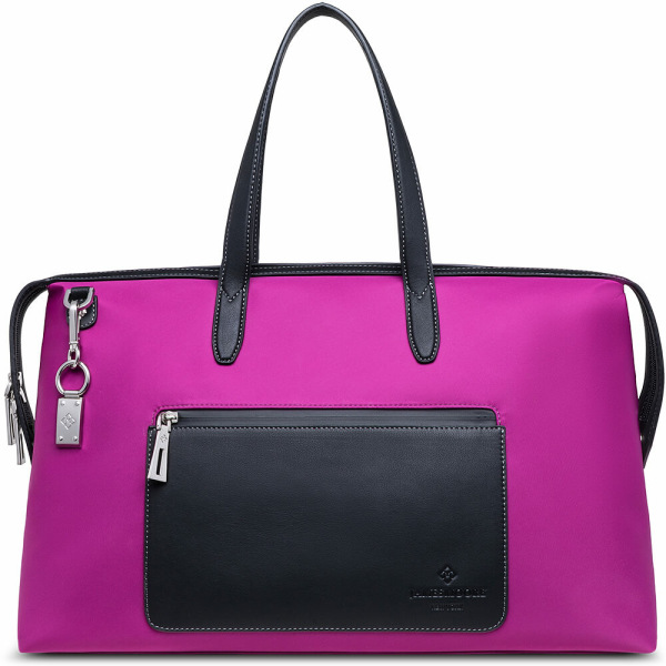 The Big Kyoto Zip Tote Bag in Purple Nylon and Black Leather_Front 1
