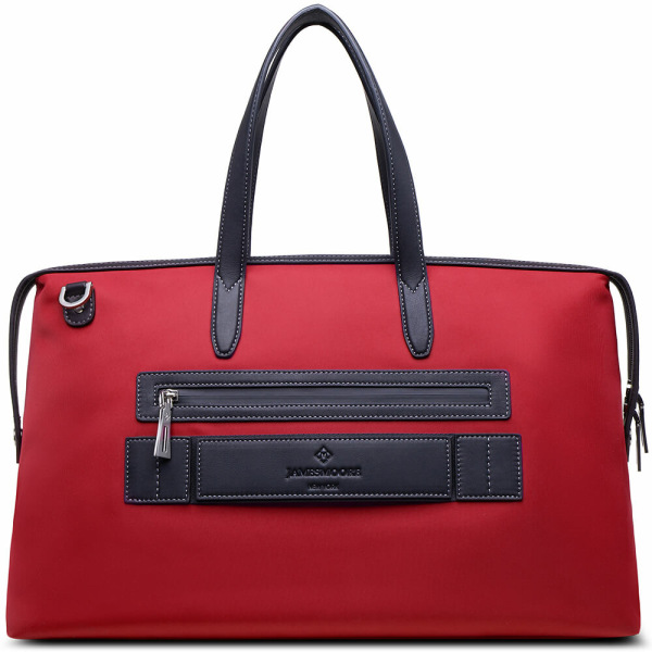 The Big Kyoto Zip Tote Bag in Red Nylon and Black Leather_Back 2