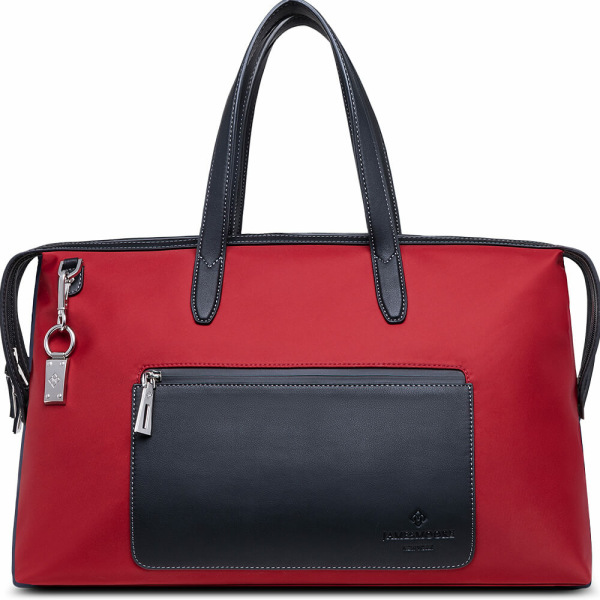 The Big Kyoto Zip Tote Bag in Red Nylon and Black Leather_Front 2