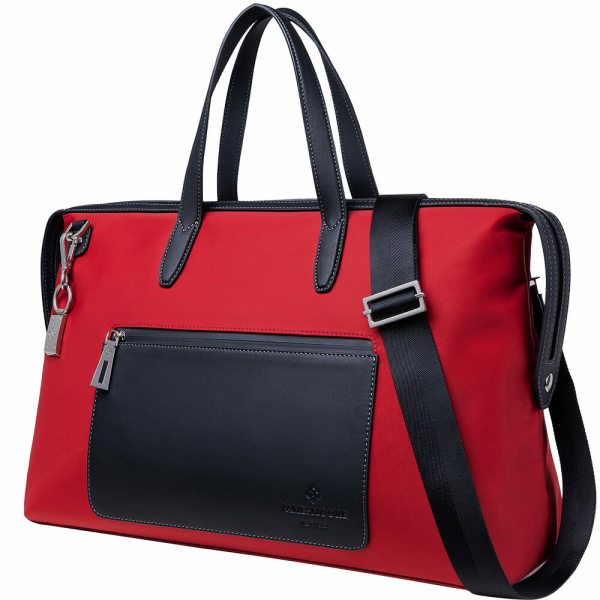 The Big Kyoto Zip Tote Bag in Red Nylon and Black Leather_Side 2
