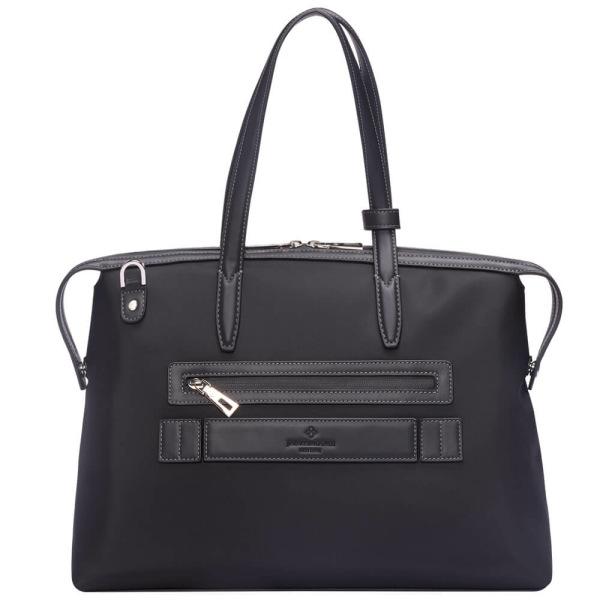 黒いナイロンおよび黒いLeather_Backの中間の京都Zipトートバッグ