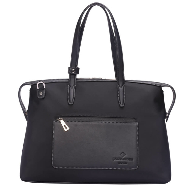 The Medium Kyoto Zip Tote Bag in Black Nylon and Black Leather_Front 1