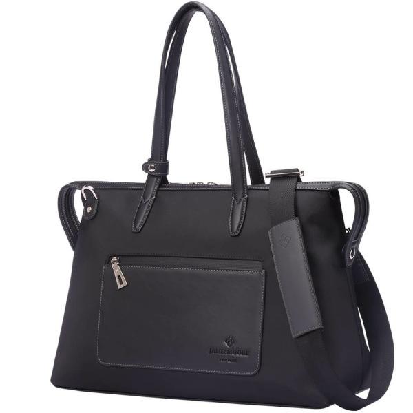 黒いナイロンおよび黒いLeather_Sideの中間の京都Zipトートバッグ