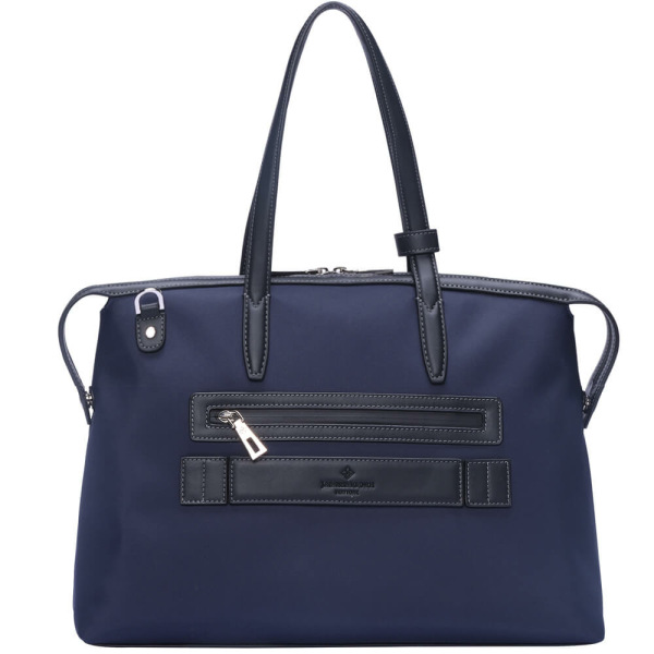 The Medium Kyoto Zip Tote Bag in Blue Nylon and Black Leather_Back 2