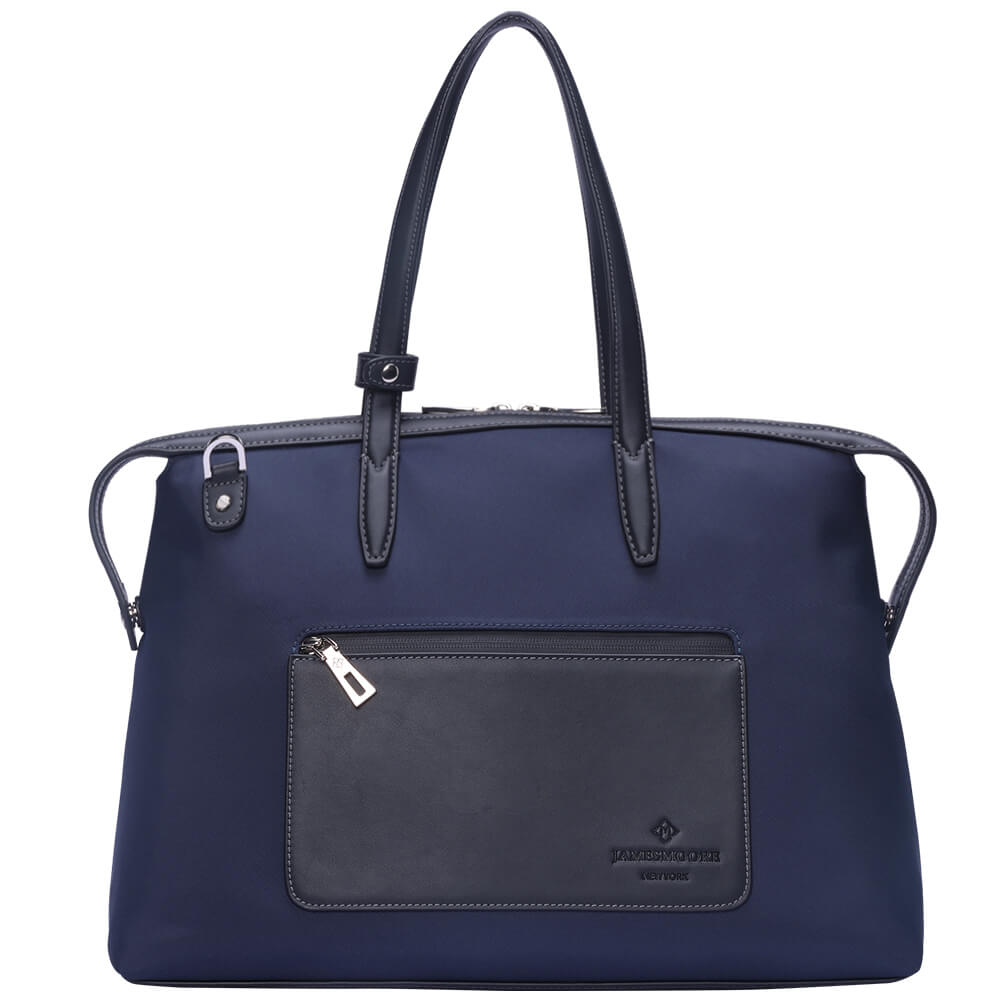 The Medium Kyoto Zip Tote Bag in Blue Nylon and Black Leather_Front 2
