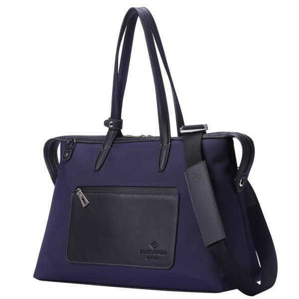 The Medium Kyoto Zip Tote Bag in Blue Nylon and Black Leather_Side