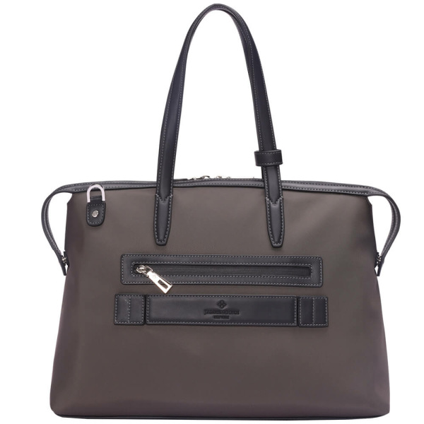 The Medium Kyoto Zip Tote Bag in Brown Nylon and Black Leather_Back 1
