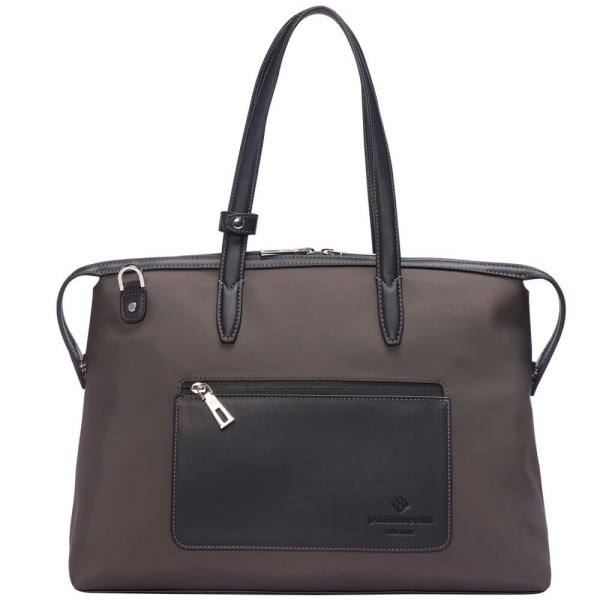The Medium Kyoto Zip Tote Bag in Brown Nylon and Black Leather_Front 1