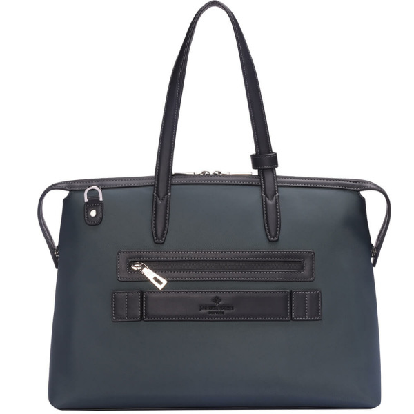 The Medium Kyoto Zip Tote Bag in Grey Nylon and Black Leather_Back 1