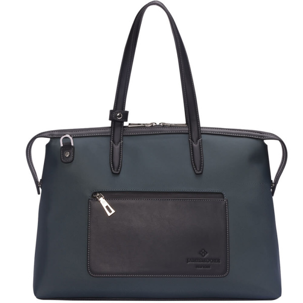 The Medium Kyoto Zip Tote Bag in Grey Nylon and Black Leather_Front 1