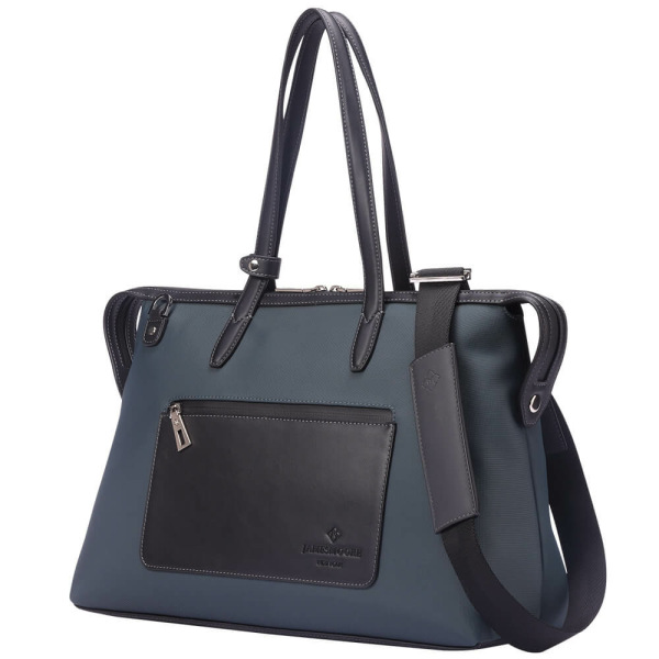The Medium Kyoto Zip Tote Bag in Grey Nylon and Black Leather_Side