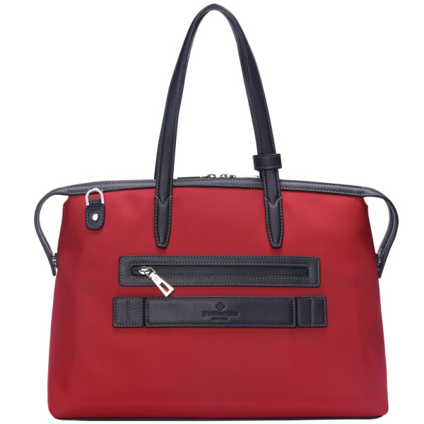 The Medium Kyoto Zip Tote Bag in Red Nylon and Black Leather_Back 2