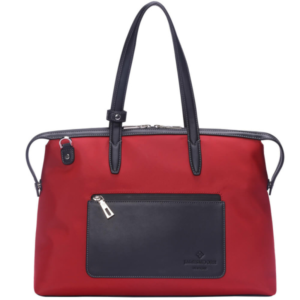 The Medium Kyoto Zip Tote Bag in Red Nylon and Black Leather_Front 2
