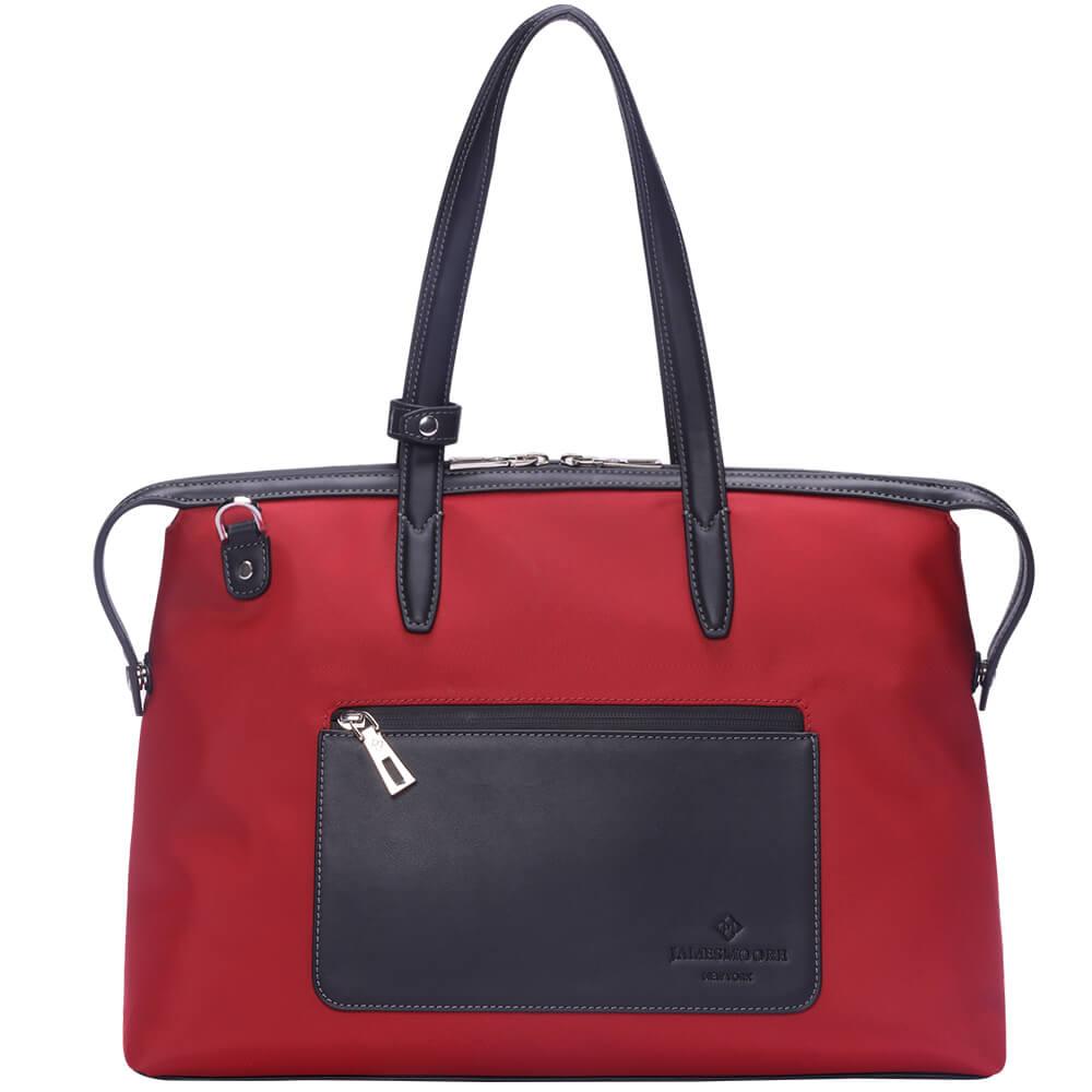 赤いナイロンおよび黒いLeather_Frontの中間の京都Zipトートバッグ