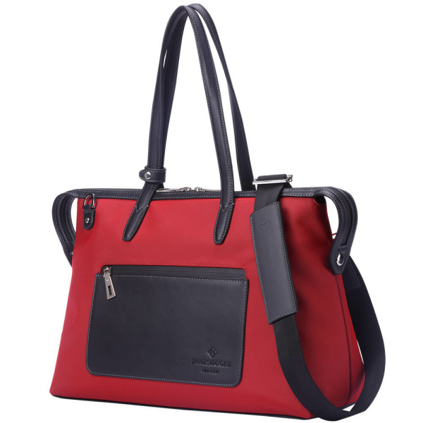 The Medium Kyoto Zip Tote Bag in Red Nylon and Black Leather_Side 2