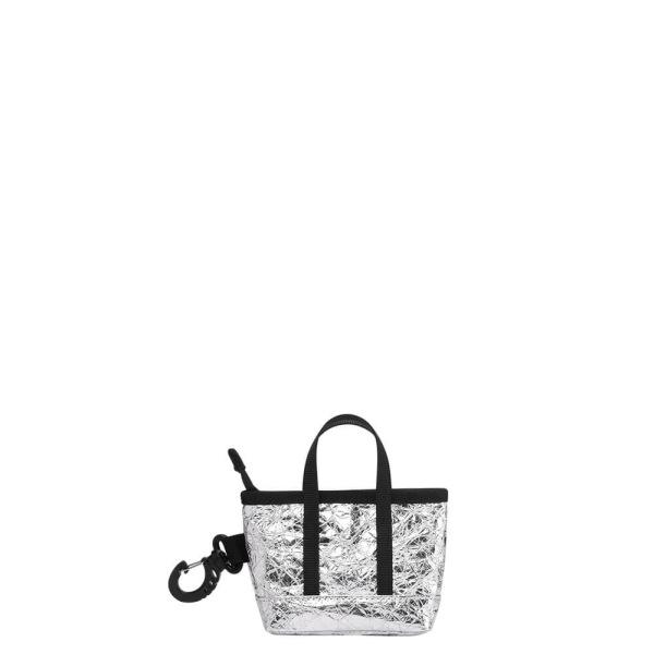 The Mini Kyoto Zip Bag in Silver Nylon_Front 1