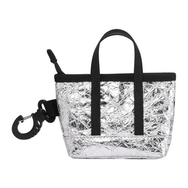 The Mini Kyoto Zip Bag in Silver Nylon_Front 2