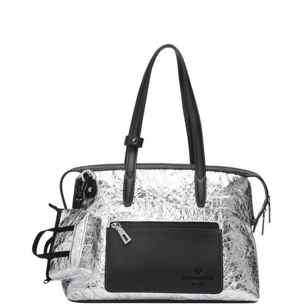 The Mini Kyoto Zip Bag in Silver Nylon_Front