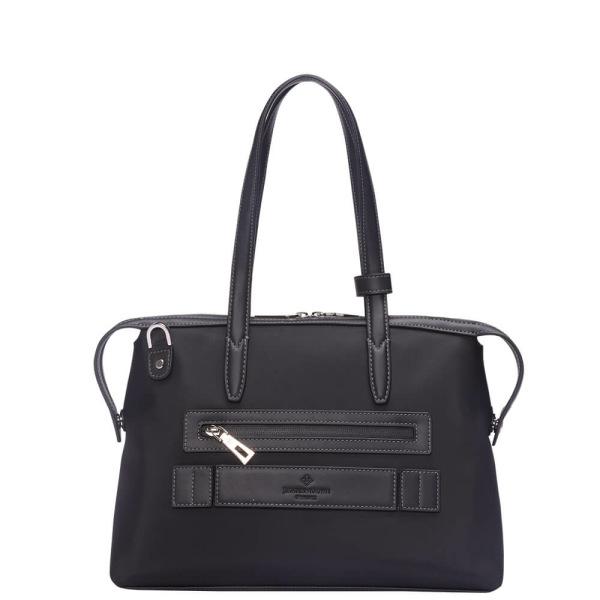 黒いナイロンおよび黒い革後ろ1の小さい京都Zipトートバッグ