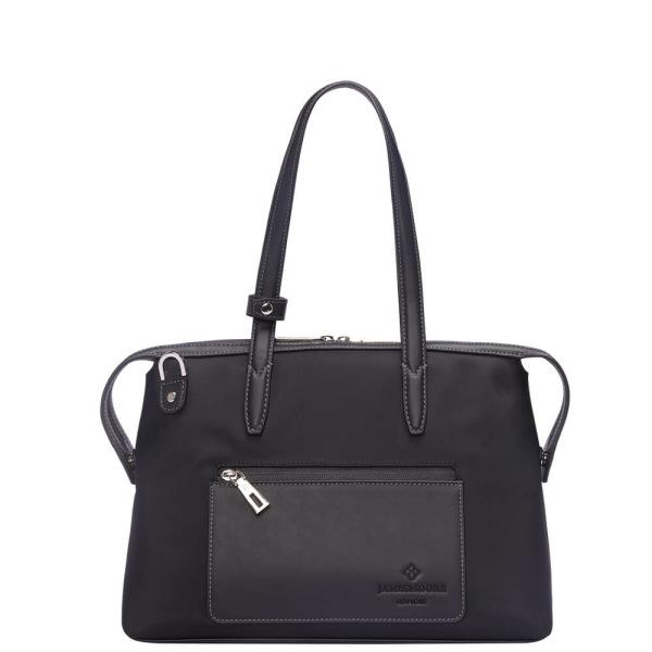 黒いナイロンおよび黒いLeather_Front 1の小さい京都Zipトートバッグ