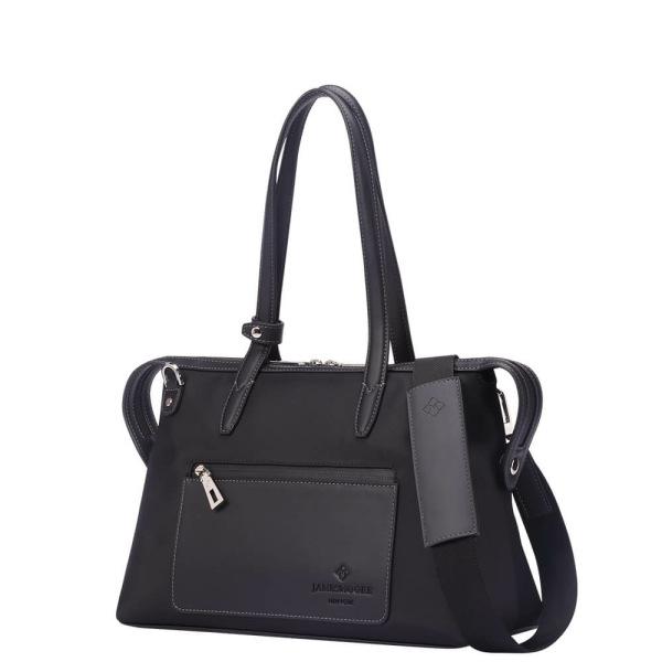 黒いナイロンおよび黒い革側の小さい京都Zipトートバッグ