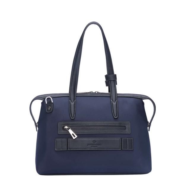 青色のナイロンおよび黒いLeather_Backの小さい京都Zipトートバッグ